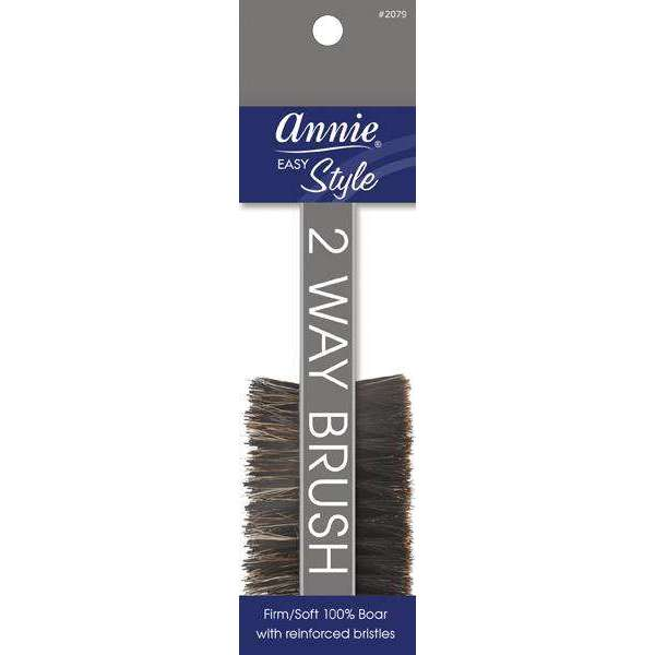 Annie Easy Style Professional 2 Way Brush 100 % Natural Boar Medium Bristle