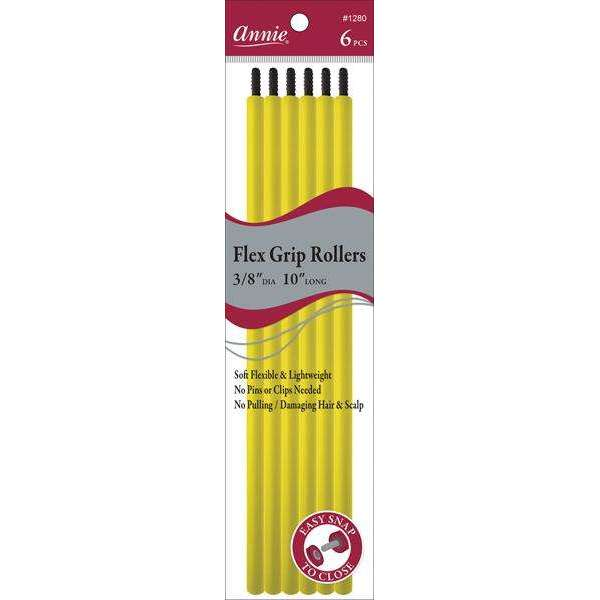 Annie Flex Grip Rollers 3/8In Dia 10In Long 6Ct Yellow