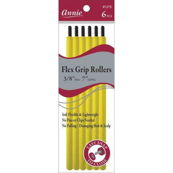 Annie Flex Grip Rollers 3/8In Dia 7In Long 6Ct Yellow