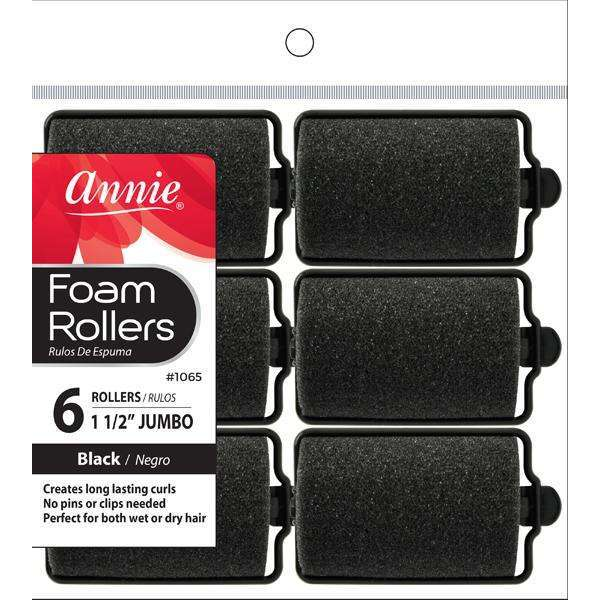 Annie Foam Rollers Jb 6Ct Black