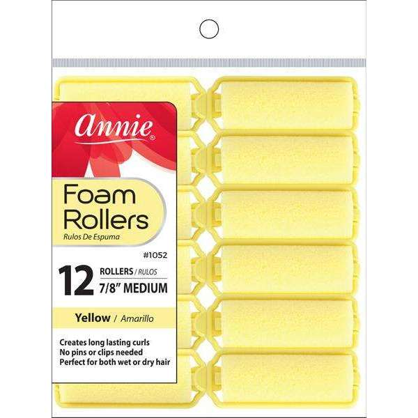 Annie Foam Rollers M 12Ct Yellow