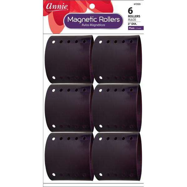Annie Magnetic Roller 3In 6Ct Plum