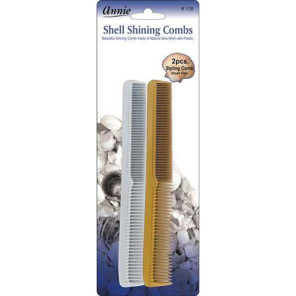 Annie Shell Shining Combs Styling 2Ct Asst Color