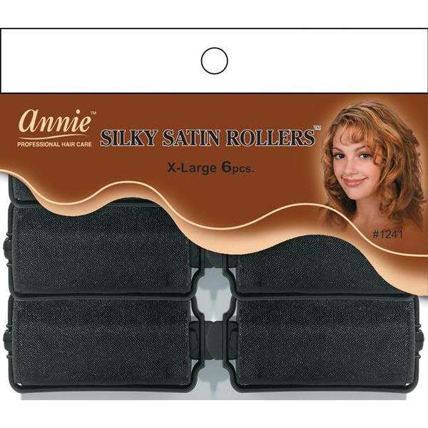 Annie Silky Satin Rollers Size XL 6Ct Black