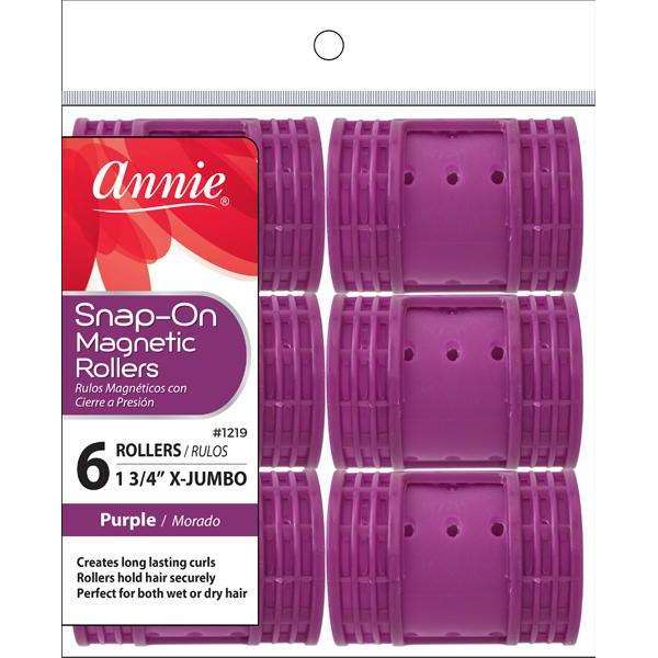 Annie Snap-On Magnetic Rollers Size X-Jumbo 6Ct Purple