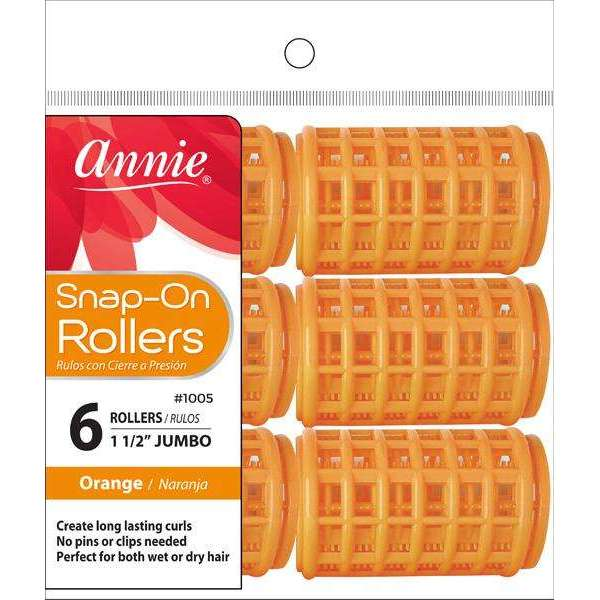 Annie Snap-On Rollers Size Jumbo 6Ct Orange