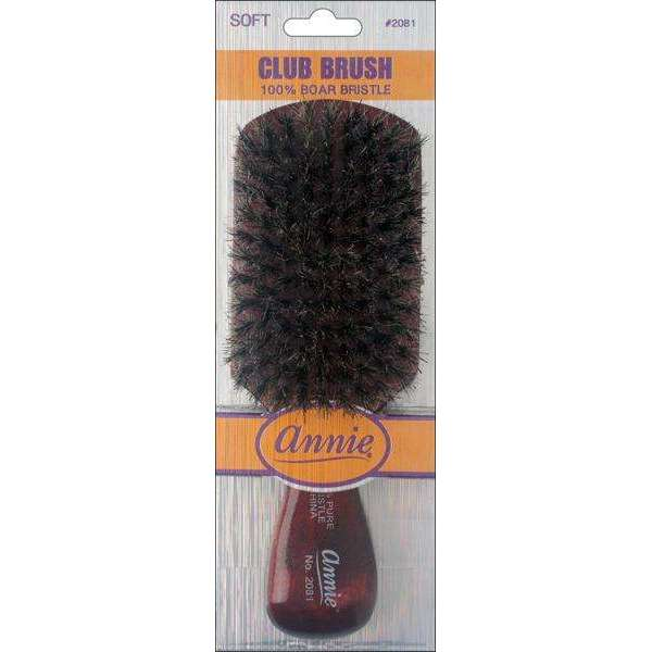 Annie Soft Club Brush 100% Pure Boar Bristles Dark Brown