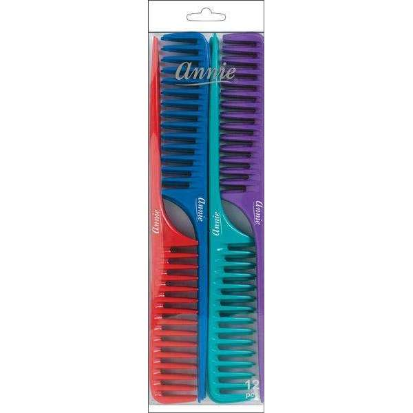 Annie Tail Comb Set L 12Ct Asst Color