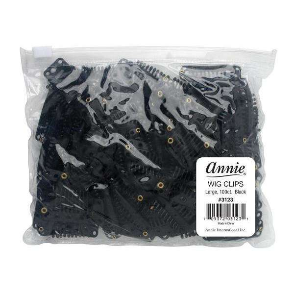 Annie Wig Clips L 100ct Black Bulk