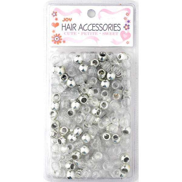 Joy Round Plastic Beads Large Size 240 Ct Silver Asst Color