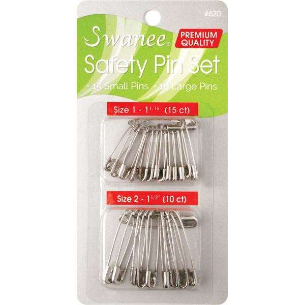 Swanee Safety Pin Assorted Size 25ct Silver