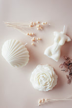 Load image into Gallery viewer, seashell candle, soy wax candle, vegan, cruelty free, decorative candles, soy coconut wax, large sea shell, handmade candles, nz made, made in new zealand, gift, woman figure candle, rose candle, unscented, akaia blends