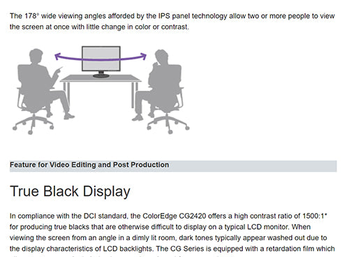 ColorMall Eizo ColorEdge CG2420-BK Wide Viewing Angles With IPS Panel