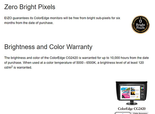 ColorMall Eizo ColorEdge CG2420-BK Zero Bright Pixels