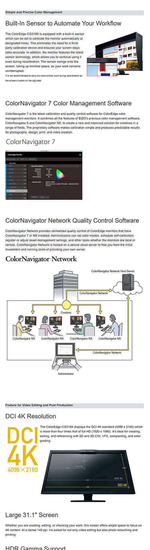 ColorMall Eizo ColorEdge CG319X-4K-BK Monitor Features