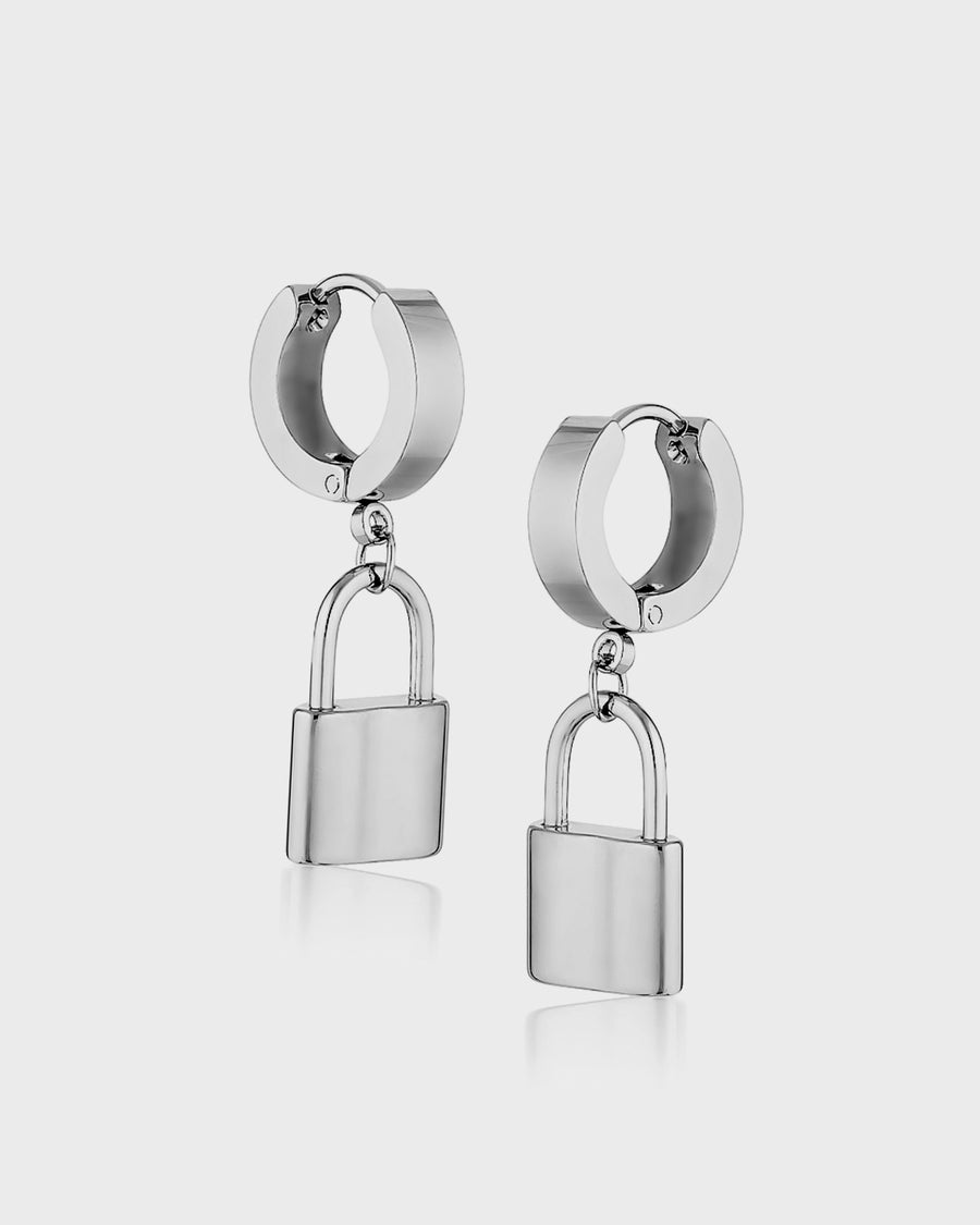 Padlock Hoops Silver - Queen and Collection