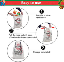Load image into Gallery viewer, Santa Sack Canvas Cotton Drawstring Bag Large SS01