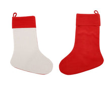 Load image into Gallery viewer, Christmas Linen Stocking Blanks Red for Sublimation Pack of 3