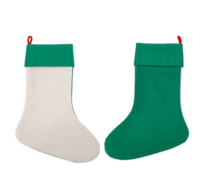 Christmas Linen Stocking Blanks Green for Sublimation Pack of 3