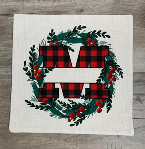 "Linen Pillow Cover 18""x18"" Plaid MonoGram with Wreath"
