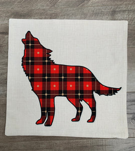 "Linen Pillow Cover 18""x18"" Plaid Wolf Print"