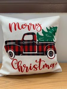 "Linen Pillow Cover 18""x18"" Plaid Tree Truck Print"