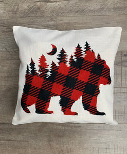 "Linen Pillow Cover 18""x18"" Forest Bear Print"