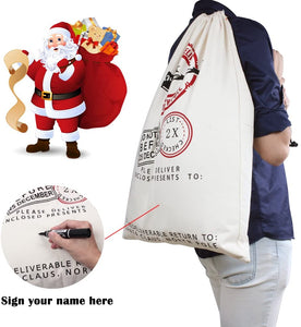 Santa Sack Canvas Cotton Drawstring Bag Large SS01