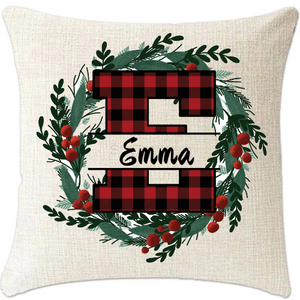 "Custom Monogram Linen Pillow Cover 18""x18"""