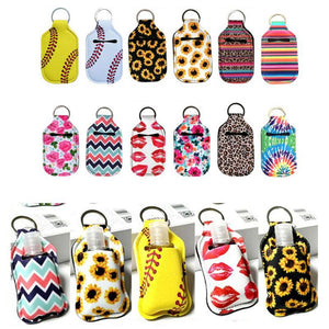 Pack of 10 - Neoprene Rectangular Hand Sanitizer Holder Keychain for Sublimation