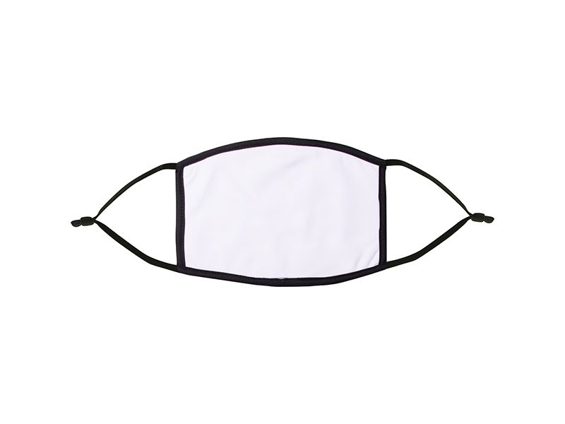 Youth Sublimation Mask White with Black Border & Straps - Pack of 10