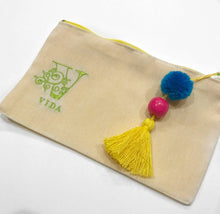 Load image into Gallery viewer, VIDA logo small handmade cosmetic bag