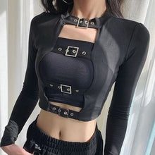 Load image into Gallery viewer, Buckled Long T-Shirt Choker Crop Top