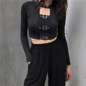 Buckled Long T-Shirt Choker Crop Top