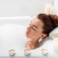 Woman taking bath to help with period cramps