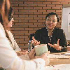 Woman leading discussion