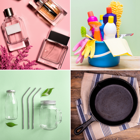 Fragrances, household cleaning products, kitchen storage containers, and cast iron pan