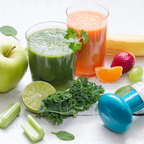 A collage of healthy choices, including food, smoothies, weights, and a tape measurer