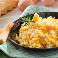 scrambled eggs and toast provide a full, healthy meal