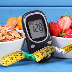Glucose monitor, measuring tape, and food