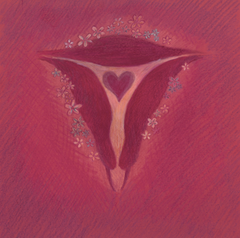Uterus artistic drawing with a heart in the center