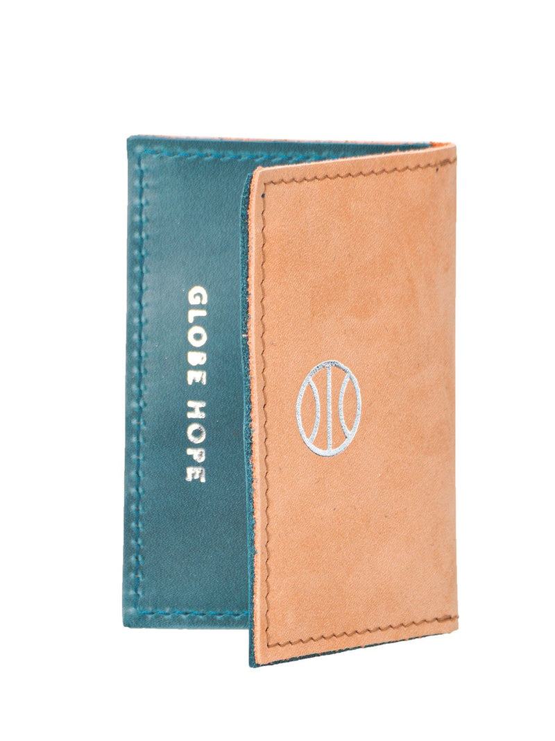 ARO DUO CARD HOLDER, TAN-TURQUOISE