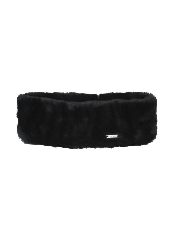 POLANNE HEADBAND, BLACK FAUX FUR
