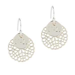 Otazu Flower Disc Earrings Silver