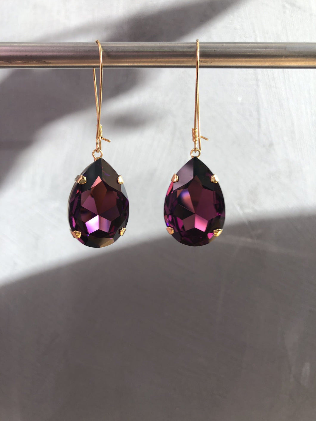 Otazu Eva Amethyst Gold Earrings