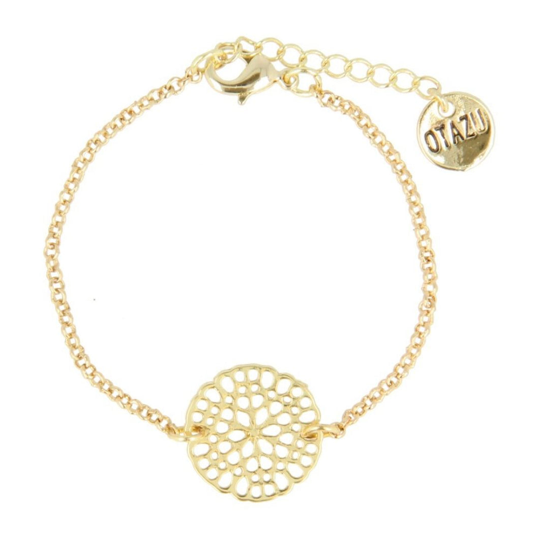 Otazu Flower Disc Bracelet Gold