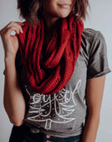 My Red Winter Infinity Knit Scarf