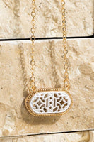 Oval Filigree Necklace in White