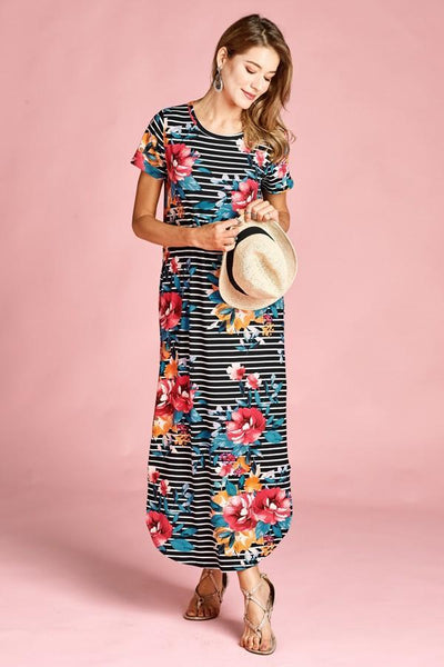 Subtly Striped Floral Maxi Dress