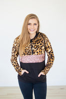Leopard and Glitz Half Zip